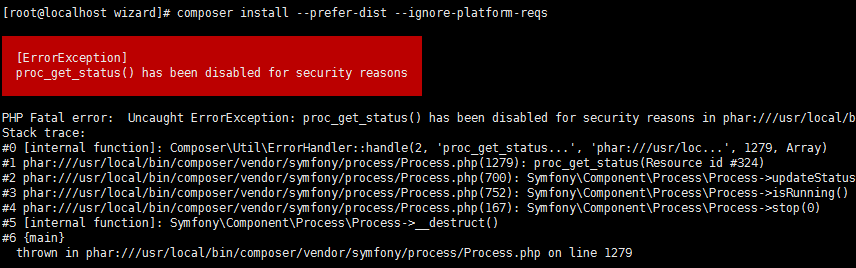 proc_get_status() has been disabled for security reasons