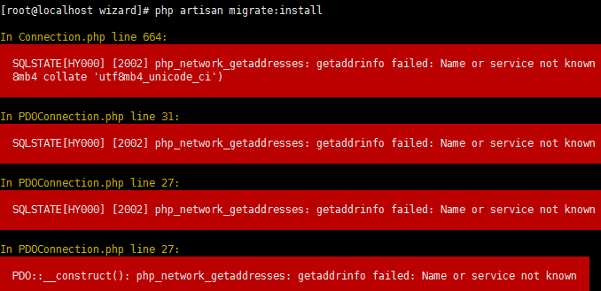 php_network_getaddresses: getaddrinfo failed: Name or service not   known