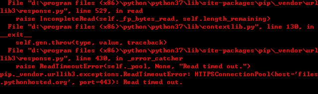 ReadTimeoutError: HTTPSConnectionPool(host='files.pythonhosted.org', port=443): Read timed out